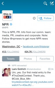 NPR even tweeted at Cold Blue Mountain, it was pretty exciting.